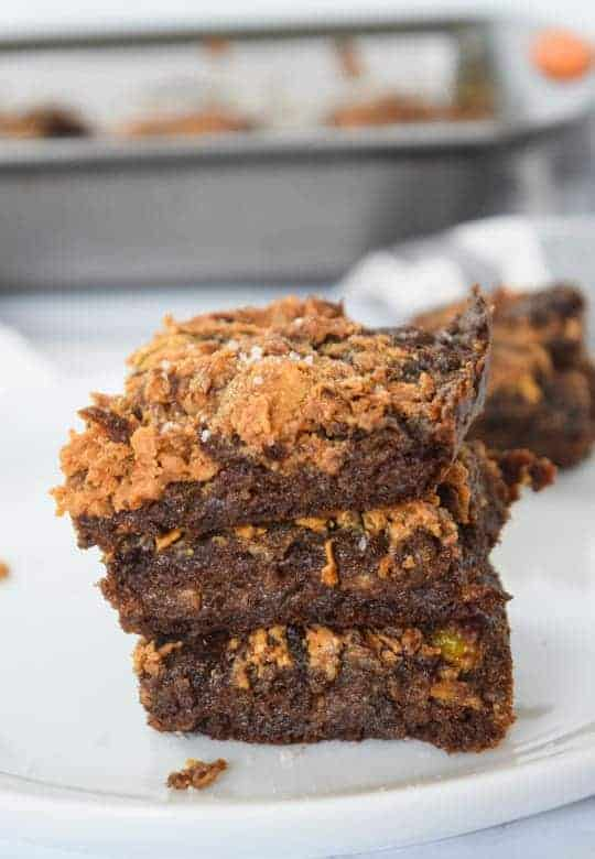 Healthy vegan brownies staked with sea salt on top | Bucket List Tummy