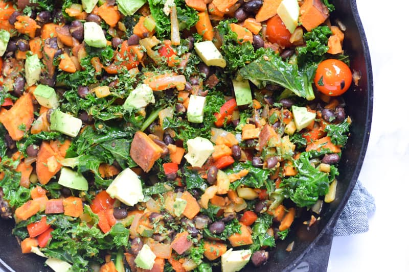 Sweet Potato Kale Hash closeup in skillet