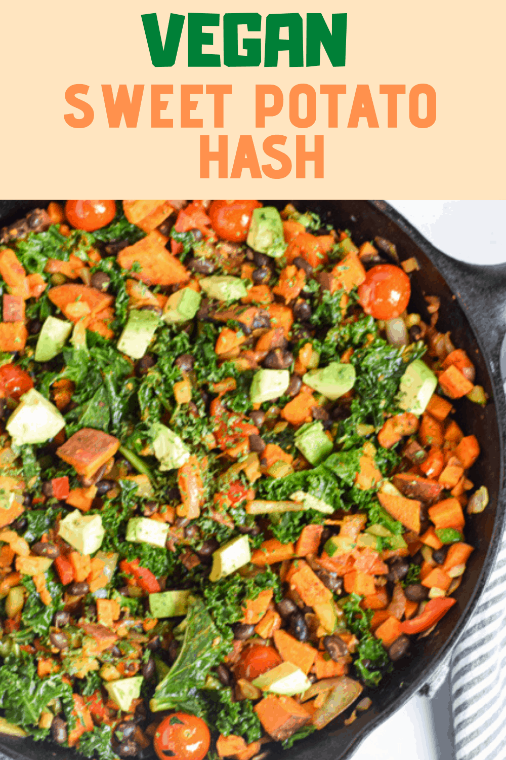 Sweet potato hash in cast iron skillet with text overlay | Bucket List Tummy