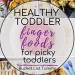 Graphic of toddler finger food ideas with text overlay