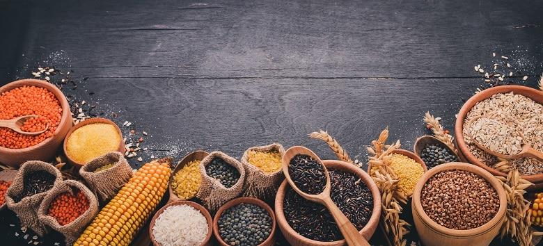 different grains on dark background