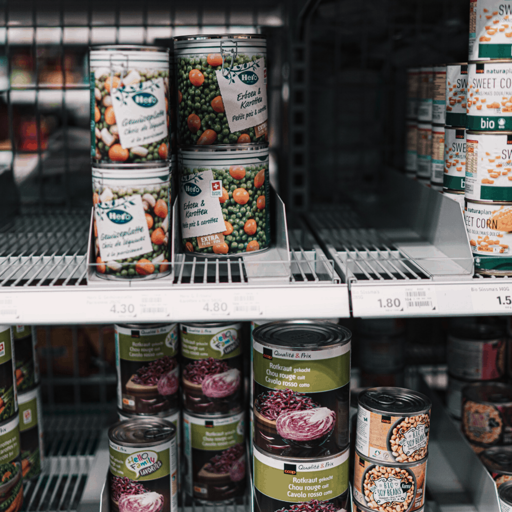 canned foods on store shelves
