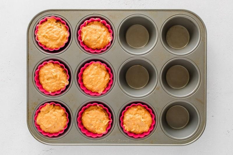 healthy sweet potato muffin batter in muffin tin