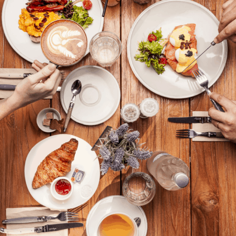Overhead view of eating brunch with friends
