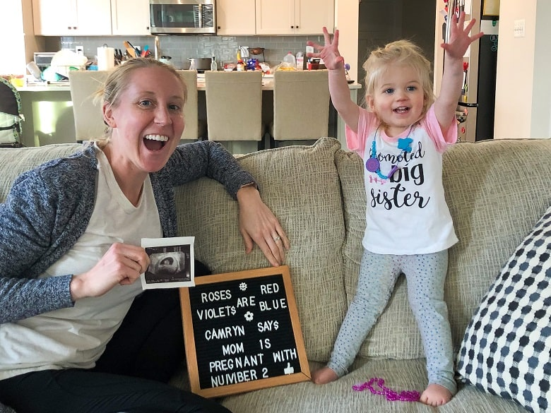 pregnancy announcement for new baby with toddler