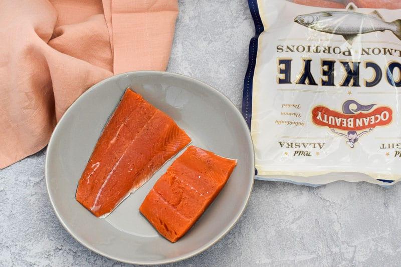 Alaska sockeye salmon thawing on plate