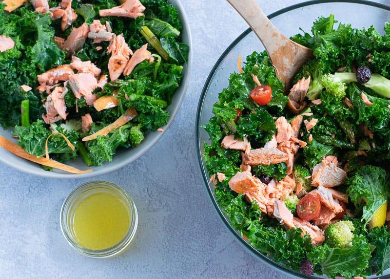 Chopped wild Alaska salmon on kale and broccoli salad   Bucket List Tummy