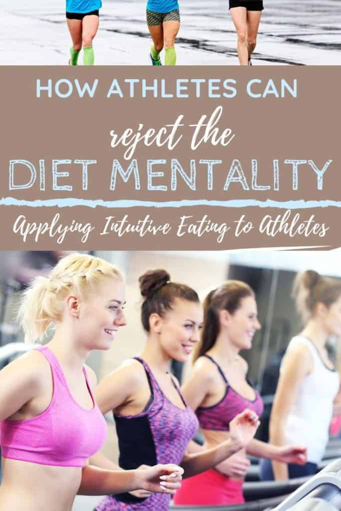 Women on treadmill with text overlay about rejecting diet mentality