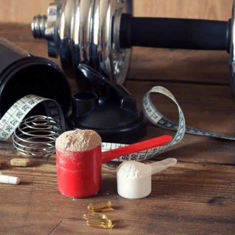 protein powder supplement with weights