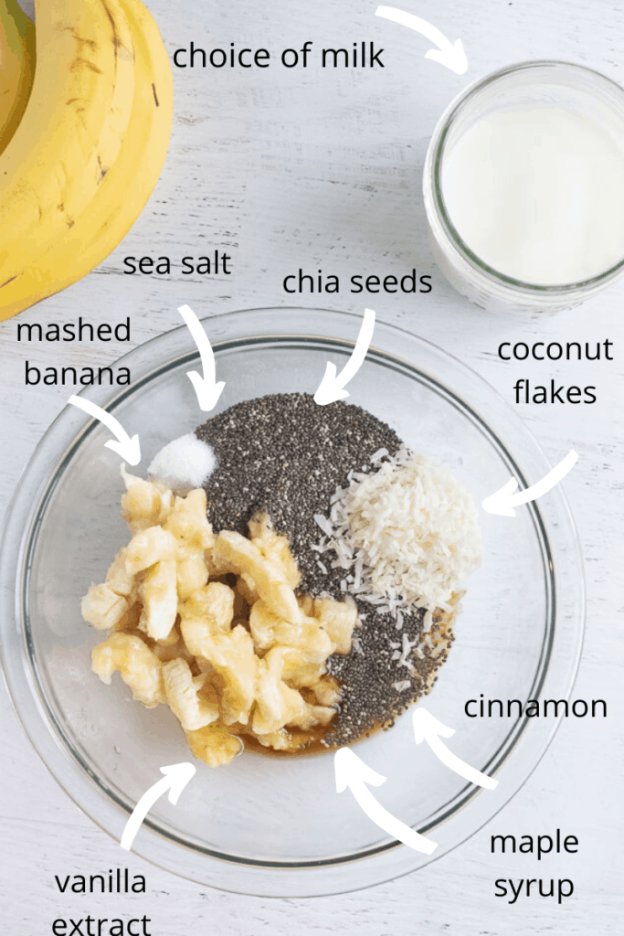ingredients labeled in a bowl for banana chia seed pudding