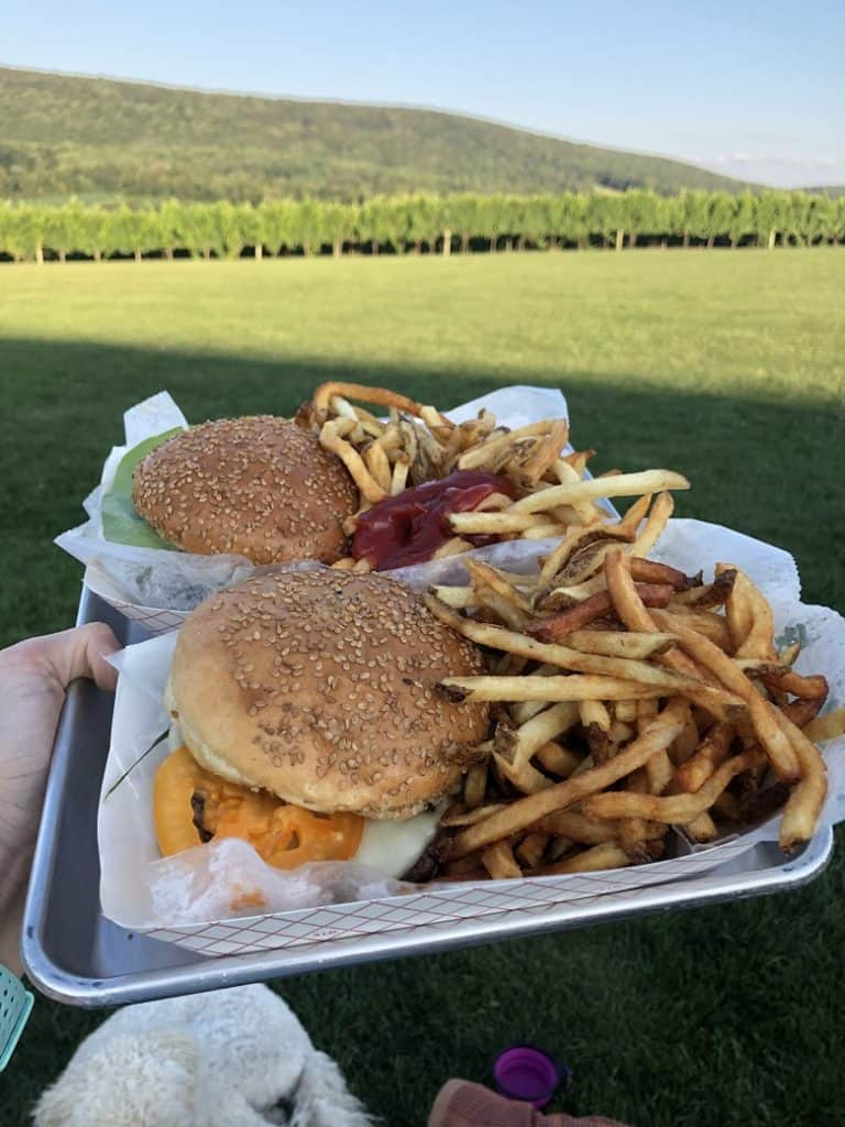 Cheese burgers with fries at a vineyard
