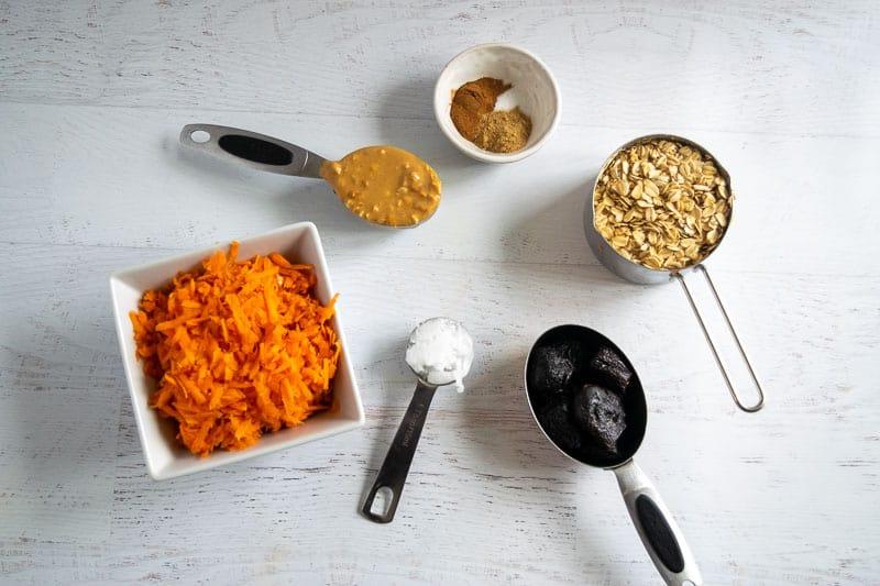 Ingredients needed to make carrot cake energy bites | www.bucketlisttummy.com