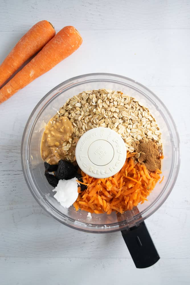 Ingredients needed to make easy vegan energy balls in food processor | www.bucketlisttummy.com