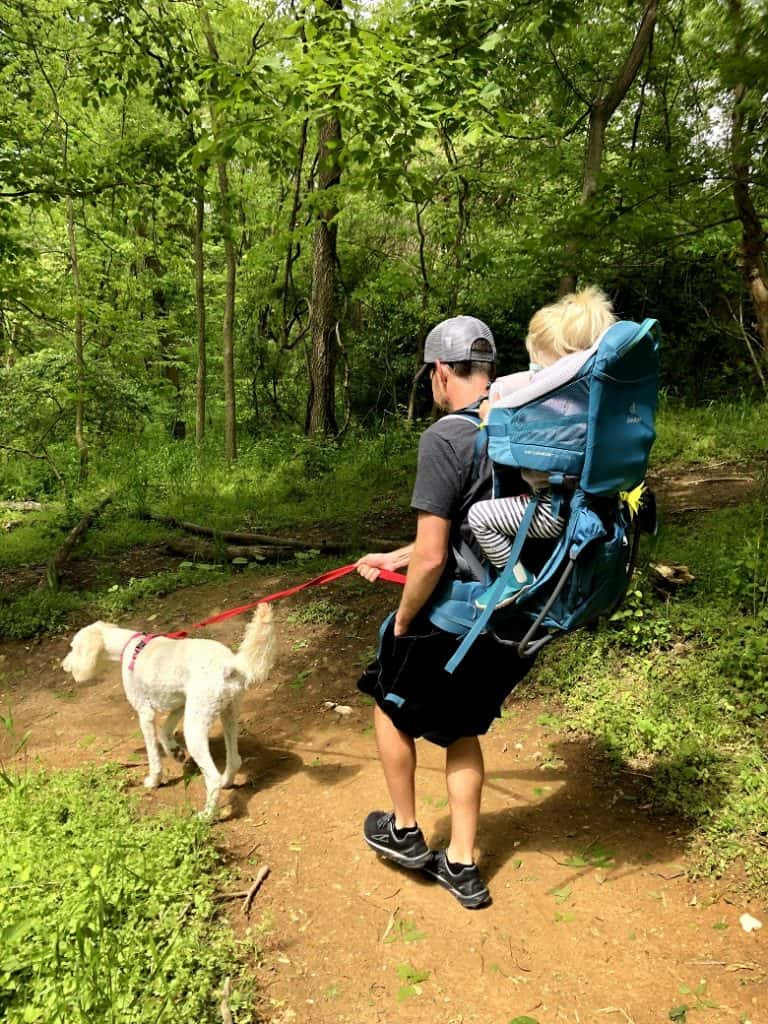 hiking pack with a toddler