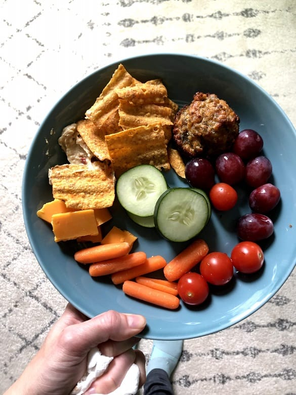 snack plate with fruits, veggies, chips