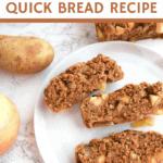apple cinnamon potato bread slices on white plate