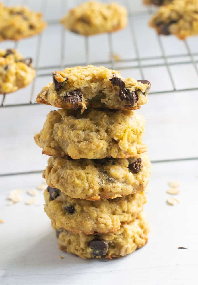 Stack of coconut flour oatmeal cookies with chocolate chips | www.bucketlisttummy.com