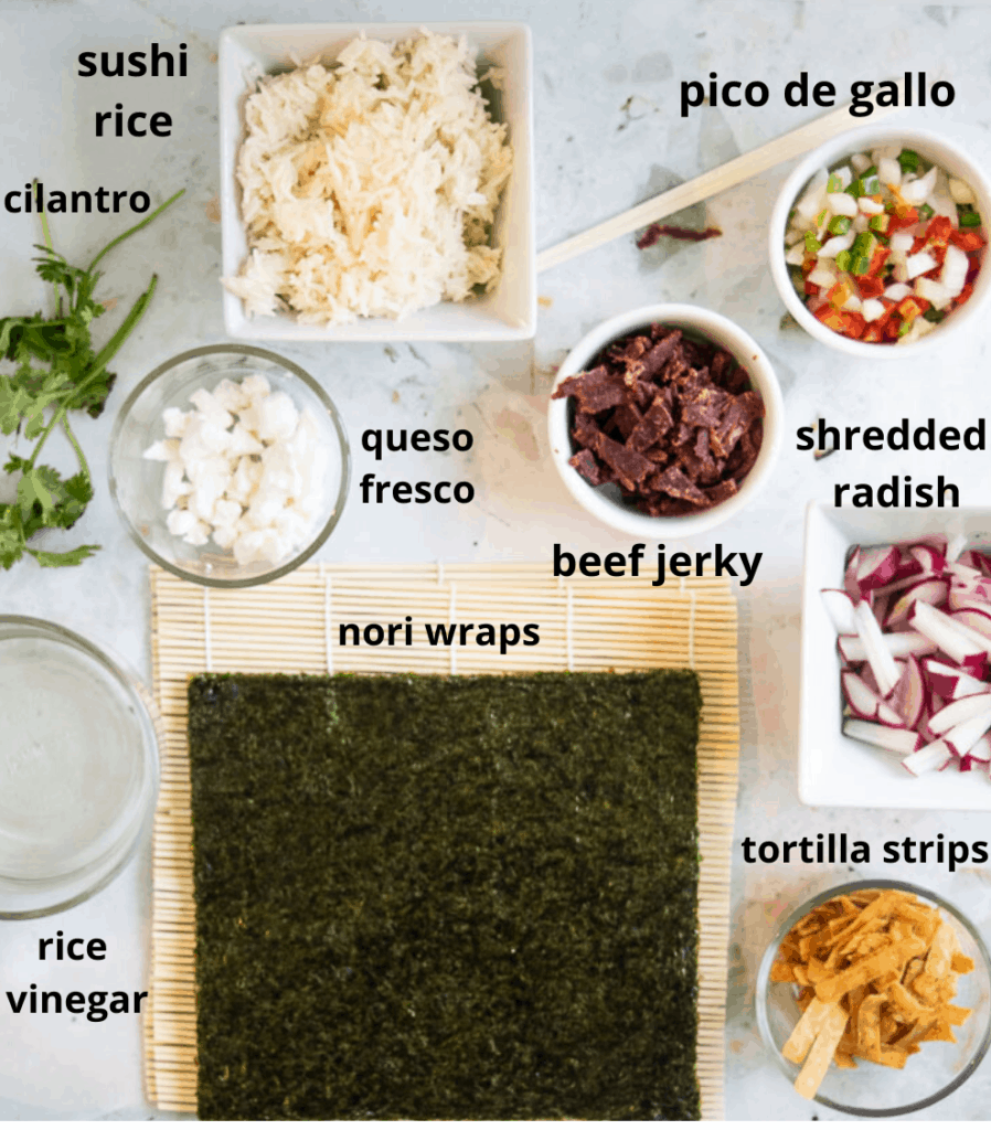Ingredients listed for Taco Beef Sushi on bamboo mat