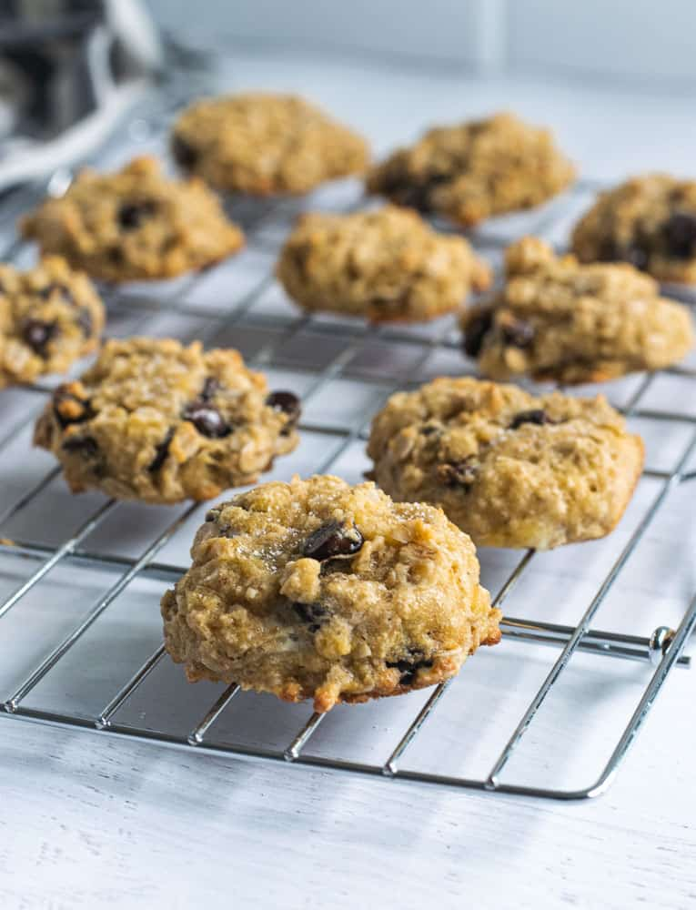 closeup of chocolate chip coconut flour cookies on cooling rack | Bucket List Tummy