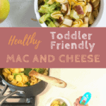 toddler eating pasta recipe with text overlay