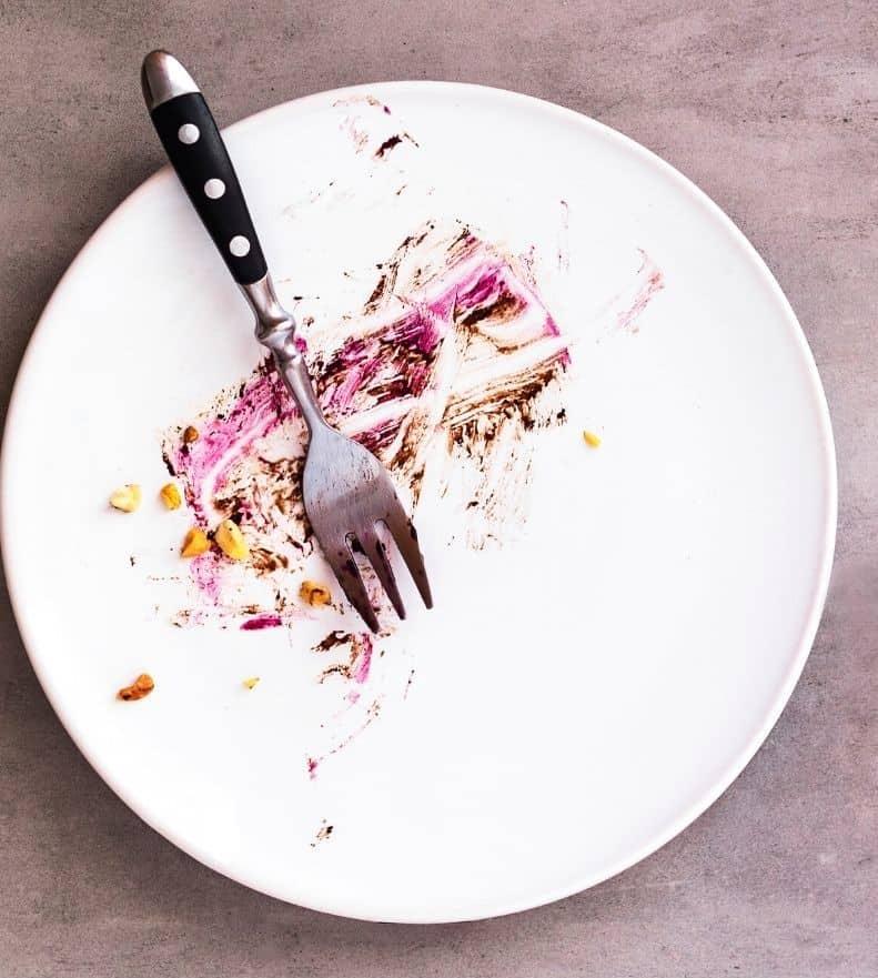 empty plate with pie crumbs left