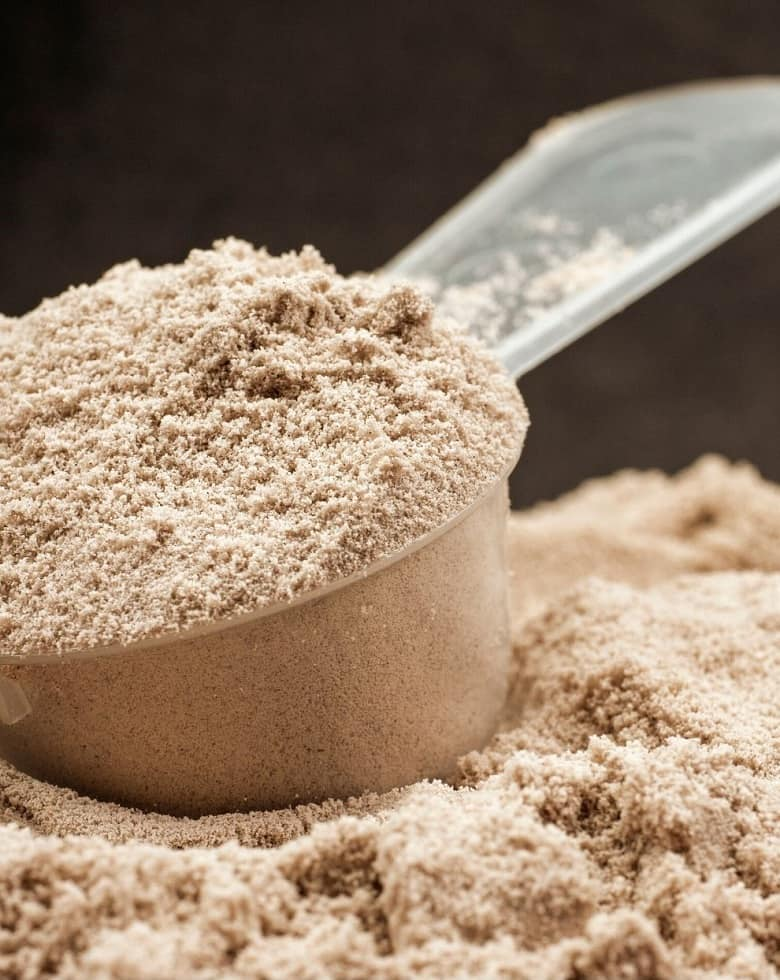 scoop of chocolate protein powder