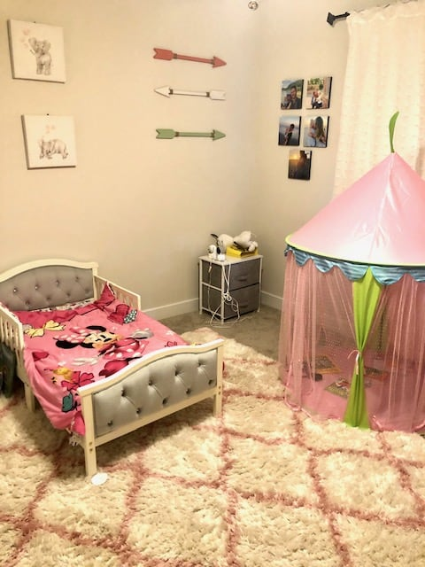 toddler bed, tent and room