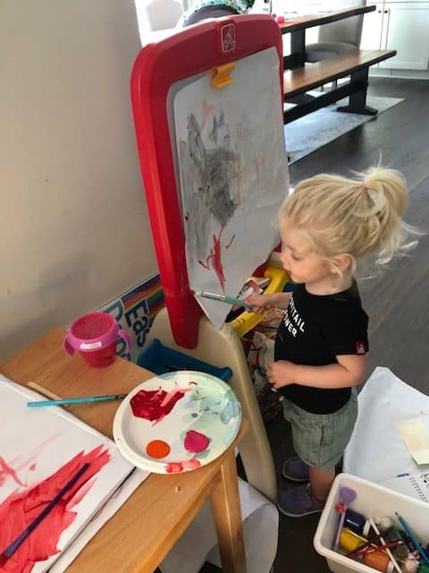 toddler painting and coloring