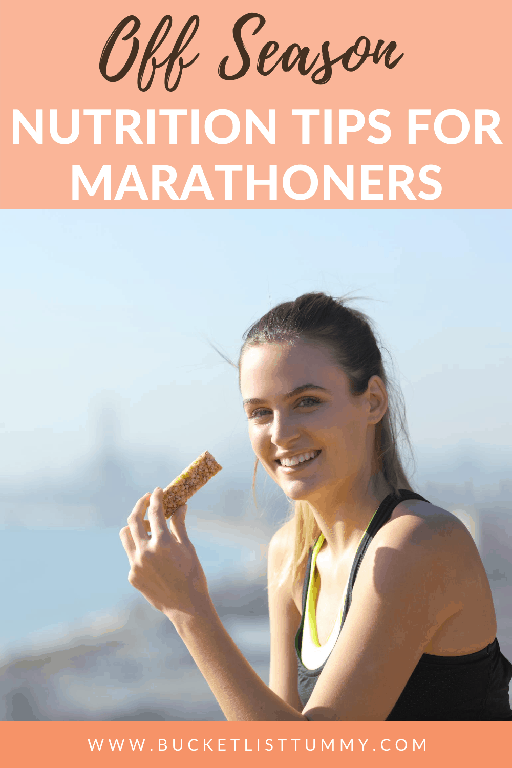 girl eating granola bar kneeling after workout with text overlay
