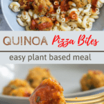 closeup of quinoa pizza bite dipped in sauce with text overlay