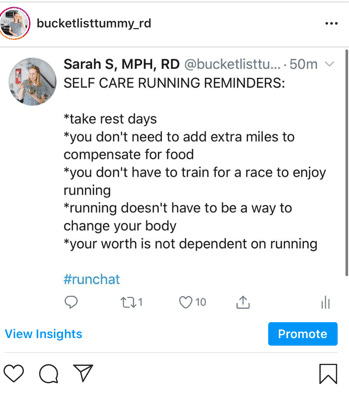 instagram post about self care reminders for runners