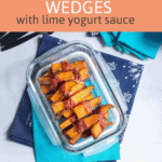 bacon wrapped sweet potato wedges with text overlay