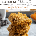 stack of pumpkin no bake cookies with text overlay