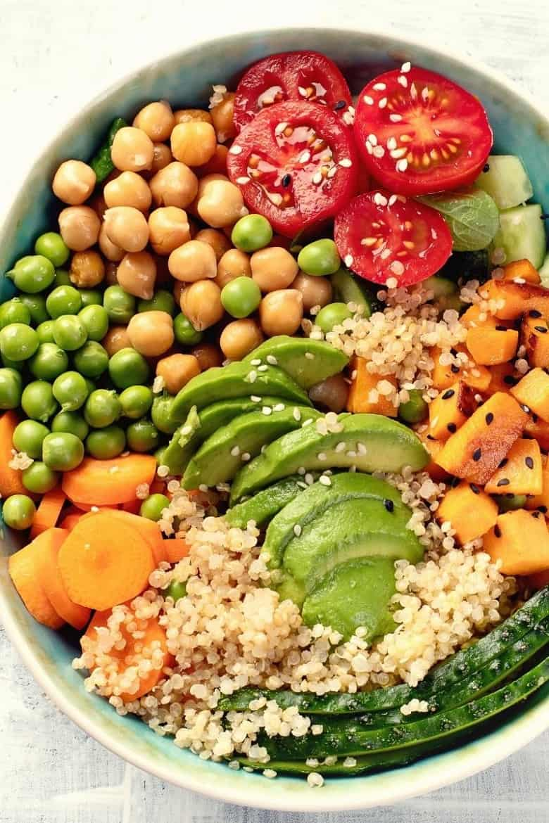 plant based bowl with beans, peas, vegetables and quinoa