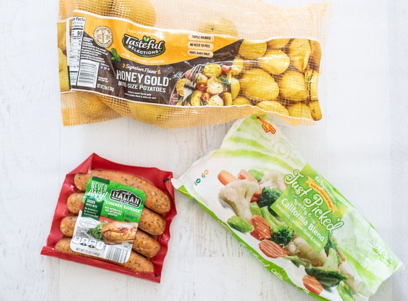 ingredients for easy spicy italian chicken sausage dinner