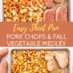 Sheet Pan pork chops with text overlay for Pinterest