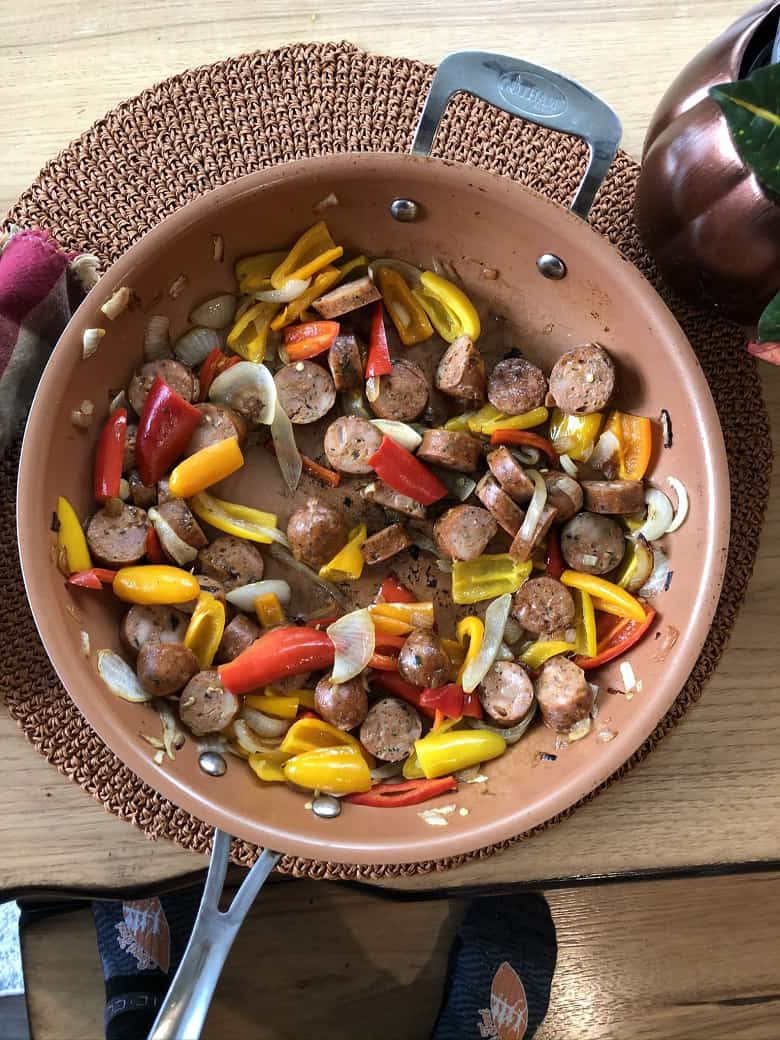 skillet with chicken sausage and vegetables
