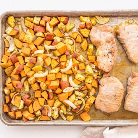 pork chops and sweet potatoes onions and apples on sheet pan