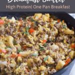 Ground beef, veggies and eggs in breakfast skillet