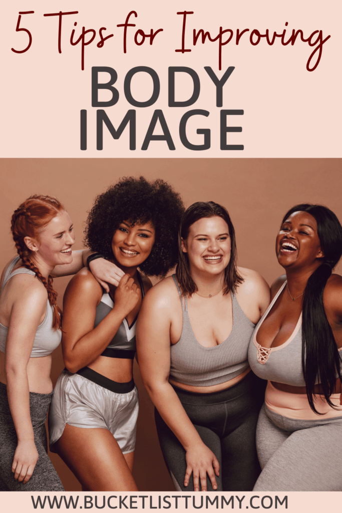 graphic with 4 women in sports bras promoting body diversity with text overlay