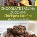 PIN overlay image of chocolate banana muffins