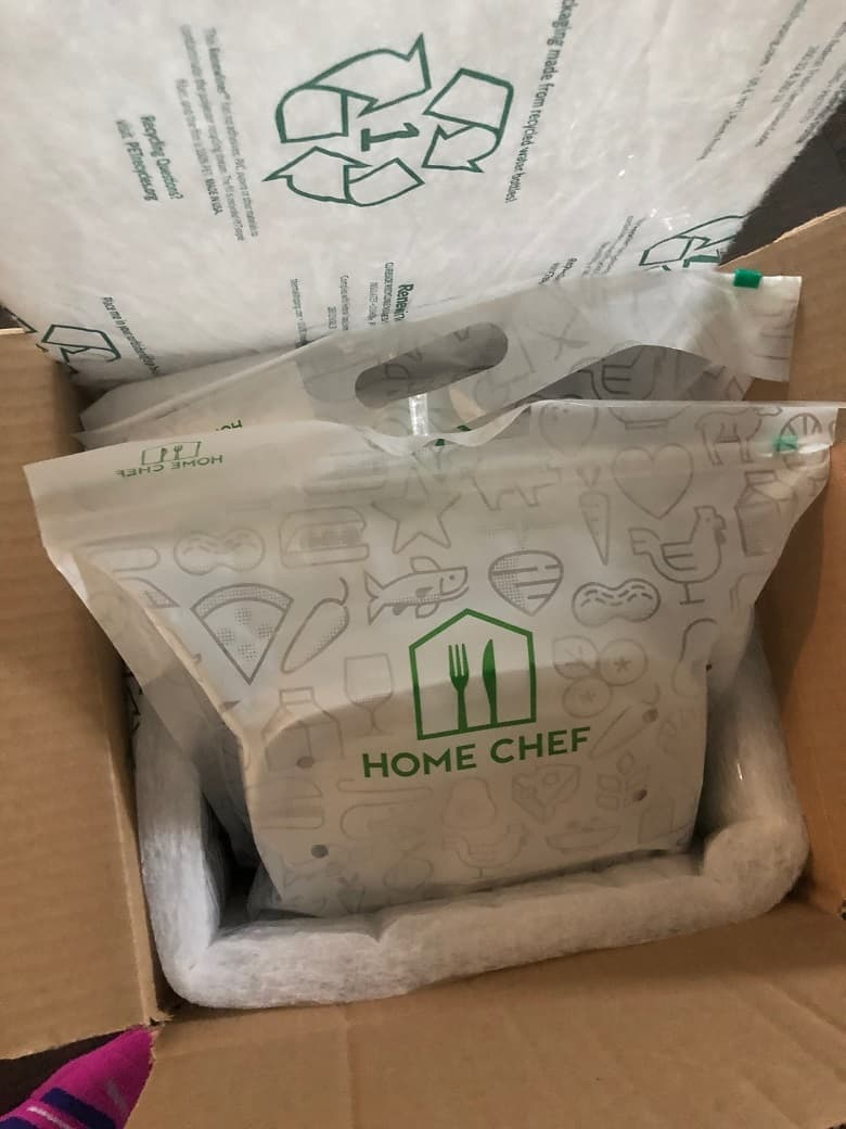Home Chef meal and packaging in box