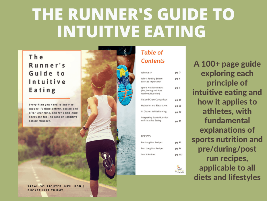 infographic for the Runner's Guide to Intuitive Eating