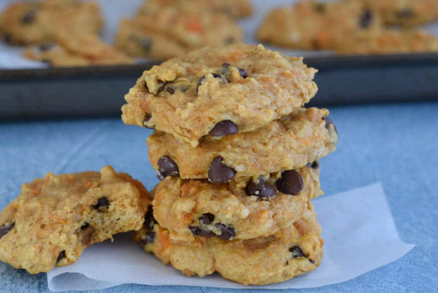 stack of sweet potato oatmeal cookies