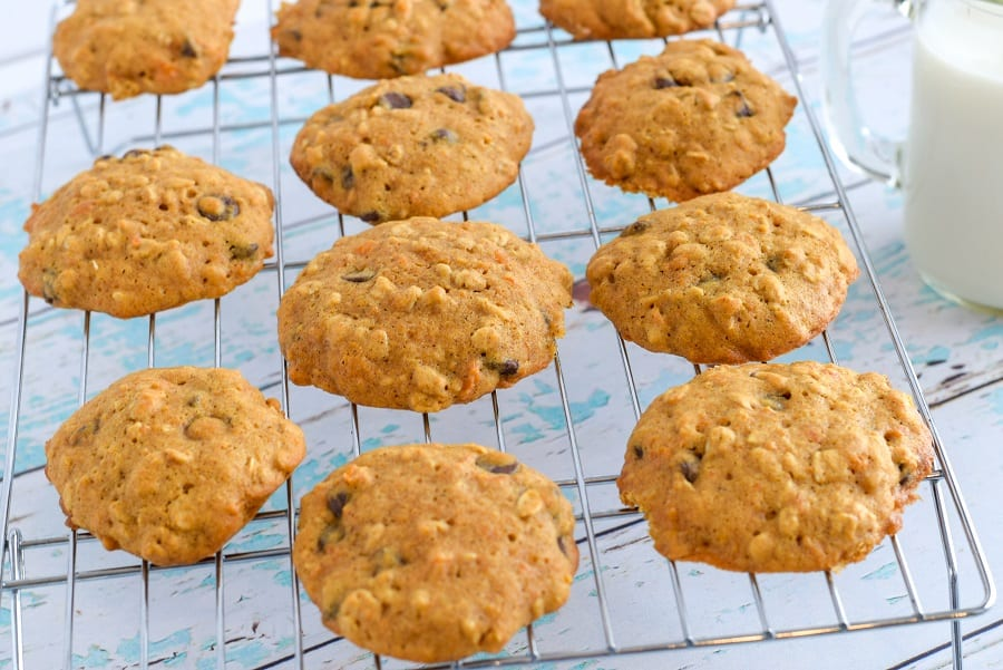 baked sweet potato oatmeal cookies cooling on wire rack