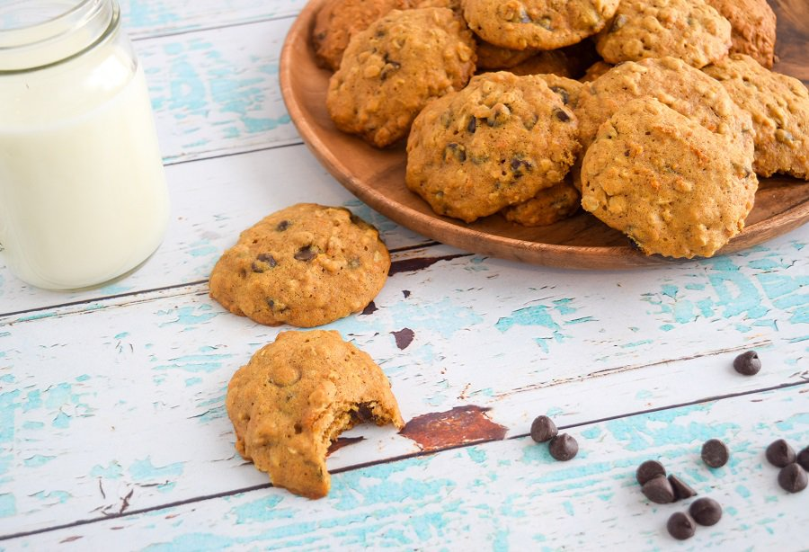 brown serving platter with homemade sweet potato chocolate chip cookies