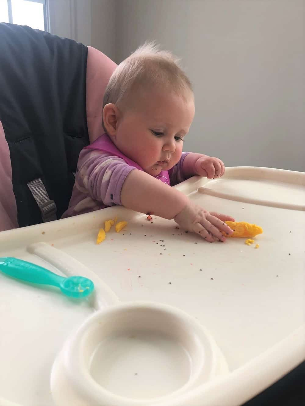 baby led weaning eggs on high chair