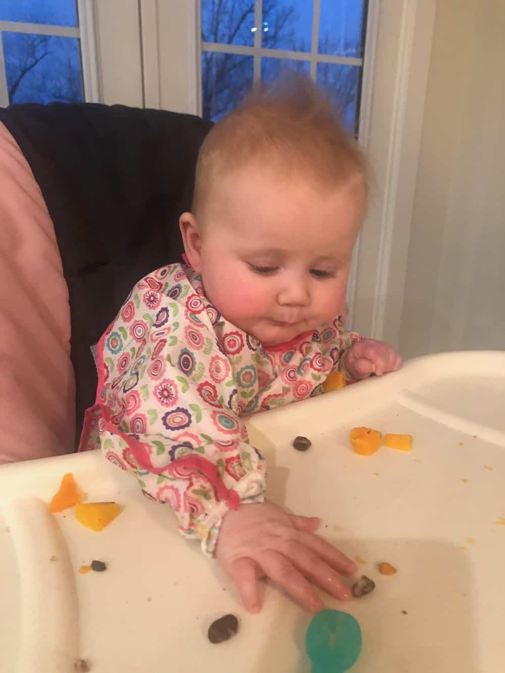 baby wearing long sleeved bib eating solids at high chair