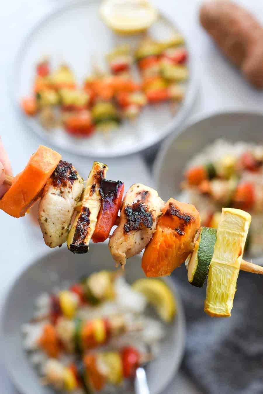 kabob skewer with chicken, sweet potatoes and veggies