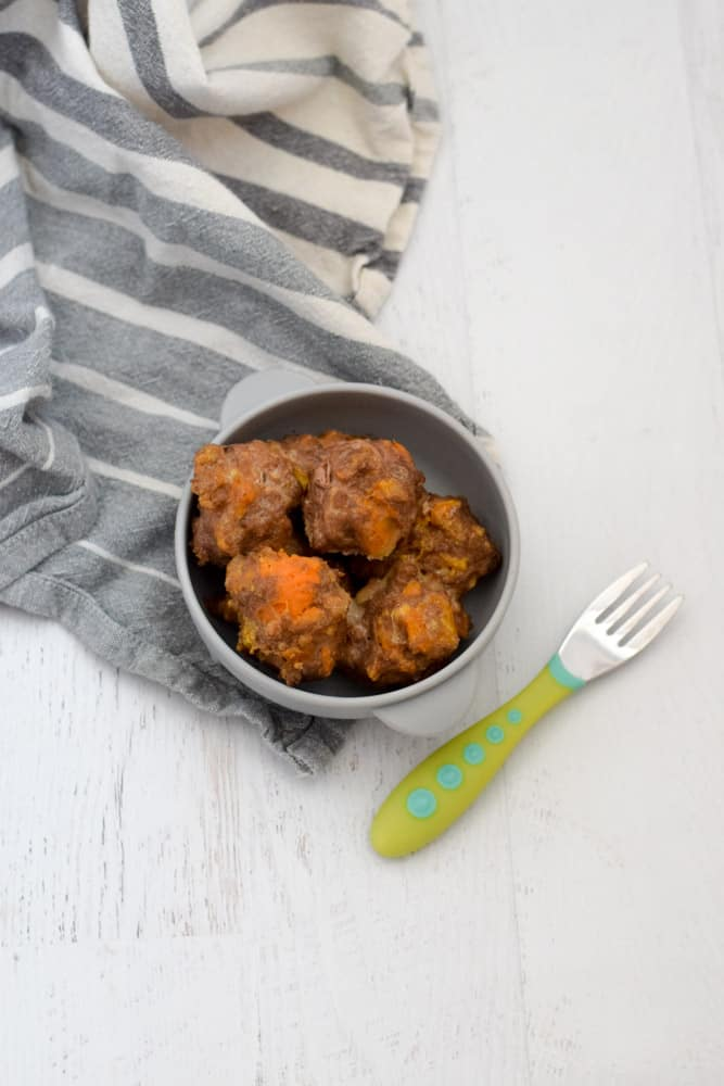 4 ingredient baby meatballs recipe in gray serving bowl